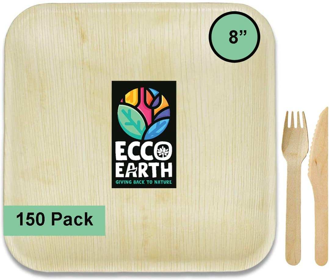 Ecco Earth Palm Leaf Disposable Plates Party Pack 8 Inch Square, Like Disposable Bamboo Plates and better than Plastic or Paper Plates (50 Plates + 50 Forks + 50 Knives)