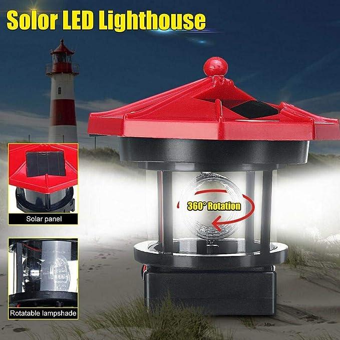 Leuchtturm Solar Roter Sand 360°Drehung ca.9cm Akku