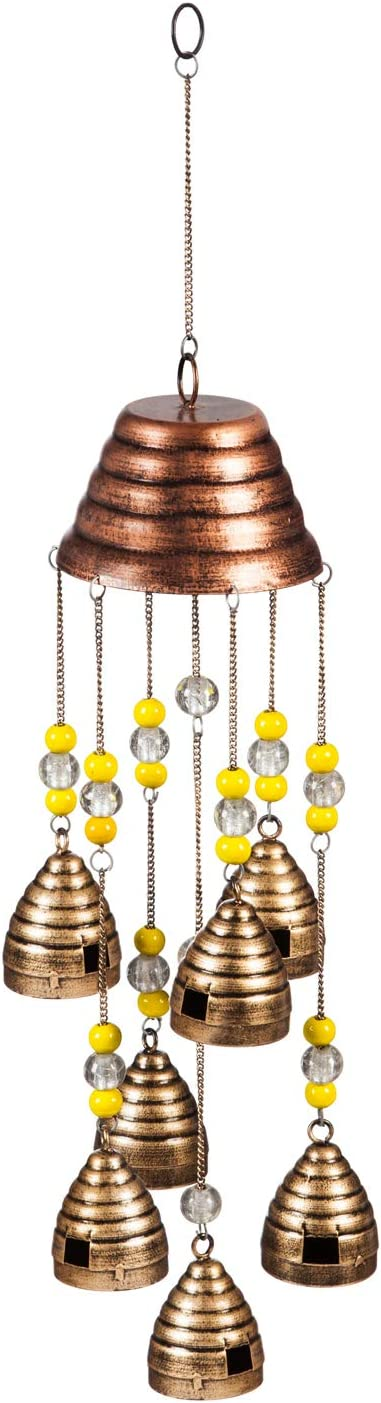New Creative Evergreen Garden Beaded Bee Hives Metal Wind Chimes