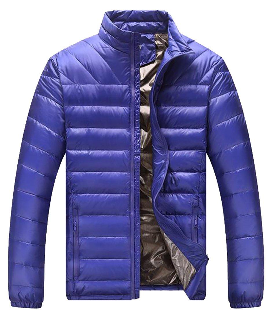 Yayu Men's Casual Stand Collar Zipper Puffer Down Jackets Outwear Jewelry Blue XL