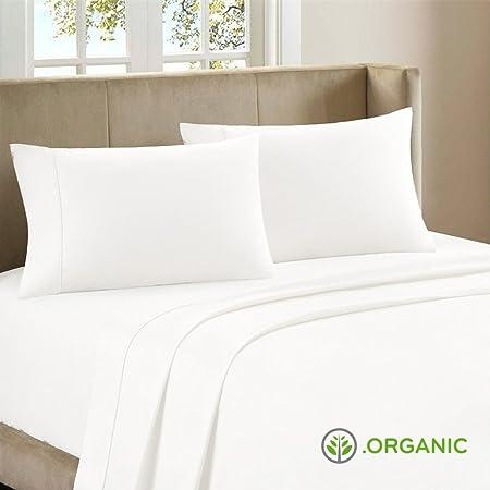 100% auténtico algodón orgánico satén 600 hilos 4 piezas Juego de ...
