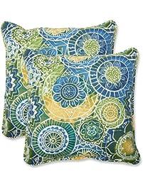 Pillow Perfect Outdoor Omnia Lagoon Throw Pillow, 18.5 Inch, Set Of 2