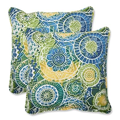 Pillow Perfect Outdoor Omnia Lagoon Throw Pillow, 18.5-Inch, Set of 2 - Includes two (2) outdoor pillows, resists weather and fading in sunlight; Suitable for indoor and outdoor use Plush Fill - 100-percent polyester fiber filling Edges of outdoor pillows are trimmed with matching fabric and cord to sit perfectly on your outdoor patio furniture - patio, outdoor-throw-pillows, outdoor-decor - 61923xg2VCL. SS400  -