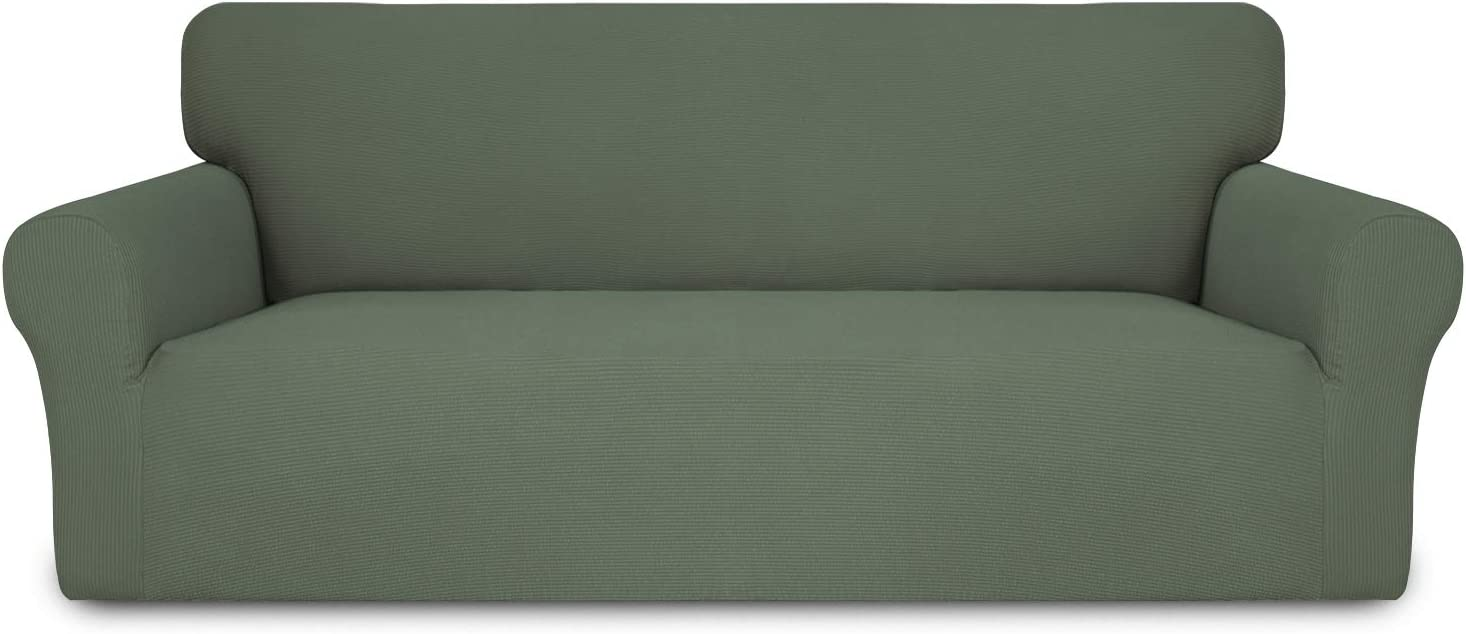 Easy-Going Thickened Stretch Slipcover, Sofa Cover, Furniture Protector with Elastic Bottom, 1 Piece Couch Shield, Sturdy for Pets,Kids,Children,Dog (Sofa,Greyish Green)