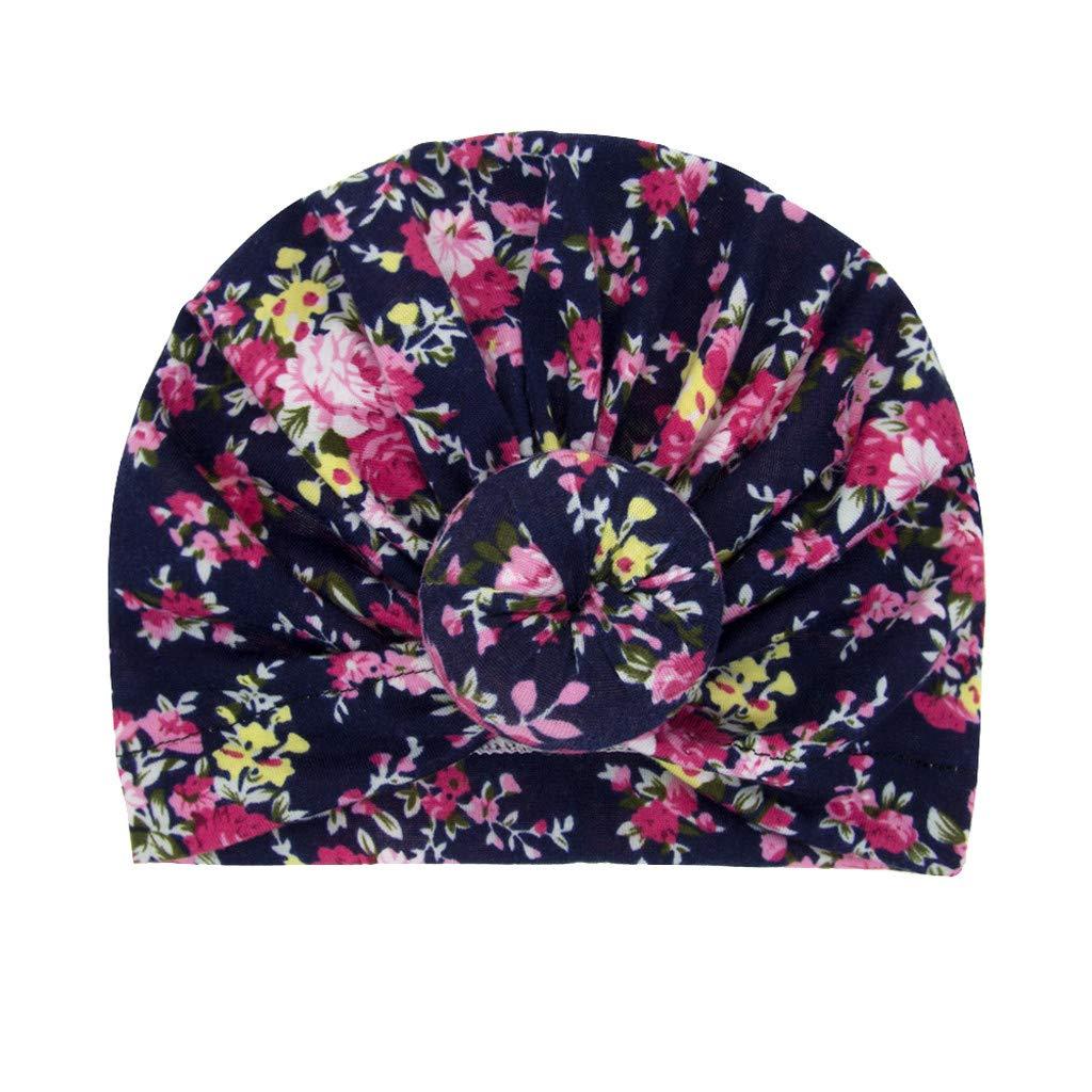 Lazzboy Baby M/ädchen Geknotet Blumendruck Blumen Hut Beanie Headwear Cap Haarband Stirnband Elastische Bowknot Kopfband Turban Schleife Haarschmuck F/ür Kleinkinder