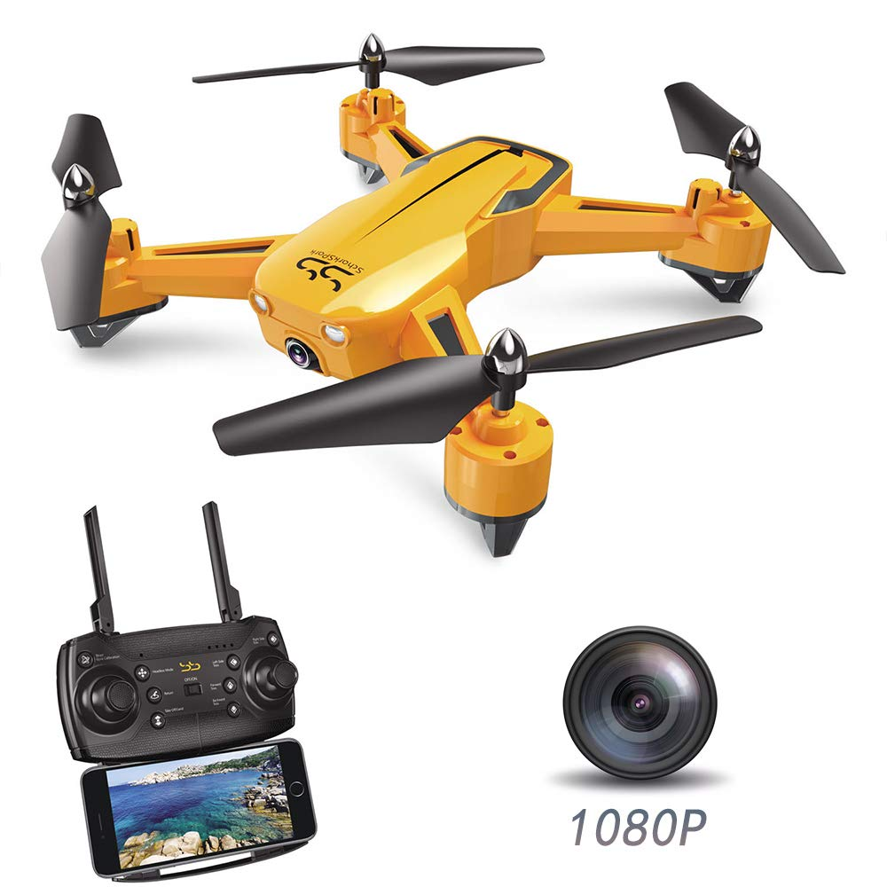 ScharkSpark Drone SS40 The Wasp Drone with 1080P 120° FPV HD Camera/Video, RC Toy Quadcopter Equipped with G-Sensor Technology, Voice Command, Preset Flight Path Hover Technology by ScharkSpark