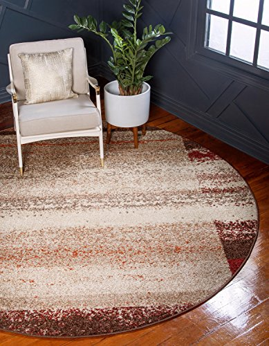 Unique Loom Autumn Collection Rustic Border Casual Warm Toned Beige Round Rug (8′ x 8′)