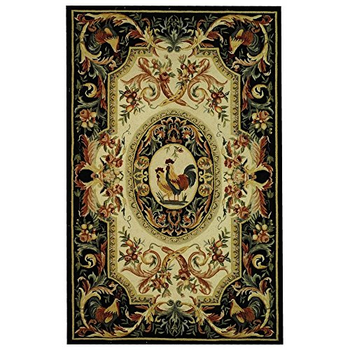 (Safavieh Chelsea Collection HK48K Hand-Hooked Ivory and Black Premium Wool Area Rug (5'3