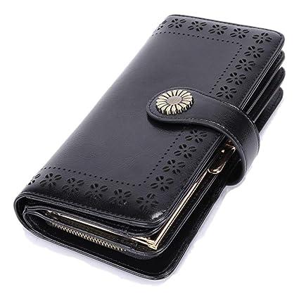 Cartera Mujer Piel Billeteros Carettera Inteligente Kipling Broche Monedero Portatarjetas Album Euros para Teléfonos Protección RFID Cremallera Doble ...