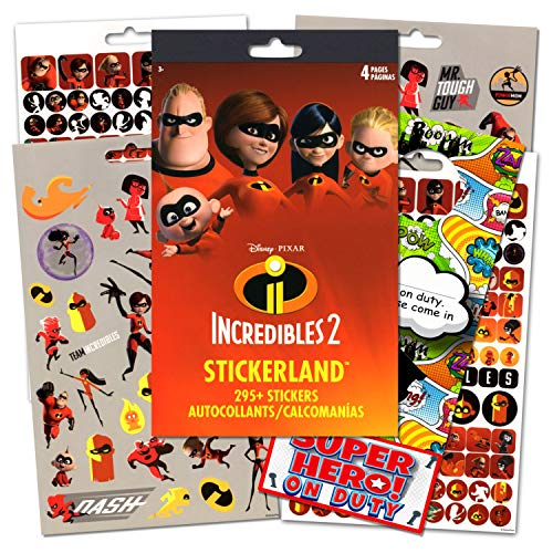 Disney The Incredibles Stickers Bundled With Specialty Superhero Door Hanger - 295 Incredibles 2 Reward Stickers