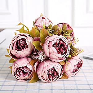 Silk Flower Arrangements SHINE-CO LIGHTING Fake Peony Silk Flowers Bouquet Glorious Moral for Home Office Parties and Wedding (sweetened Bean)