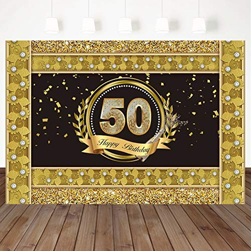 Mehofoto Happy 50th Birthday Backdrop Gold Border Background Diamond Background 7X5ft Vinyl Background Birthday Party Photo Booth Banner Decorations
