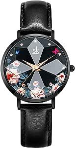 SHENGKE Estrella Reloj de Pulsera para Mujer, Correa de Malla, Elegante, para Mujer, Estilo Simplicidad,Flores
