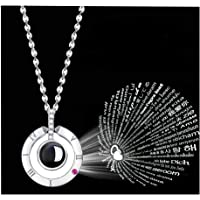 I Love You 100 Languages Projection Pendant Loving Memory Collarbone Necklace Gift for Girlfriend Lover Wife Her Wedding Anniversary