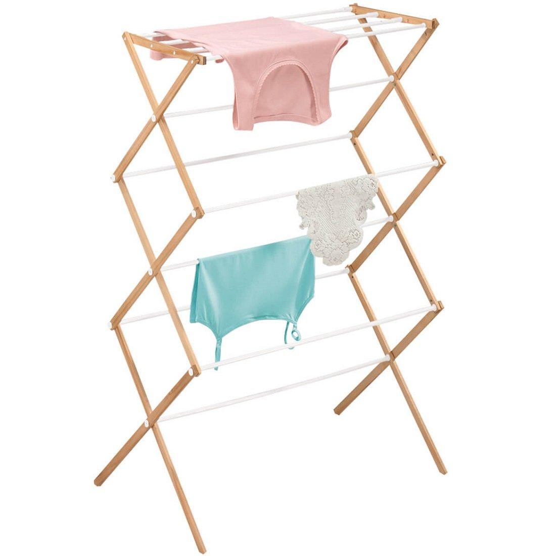 MS Home Easy Assembly Folding Garments Laundry Rack - Wood and Plastic, Rust-Free, Lightweight - 29.25'' L x 13'' W x 43.25'' H by MS Home