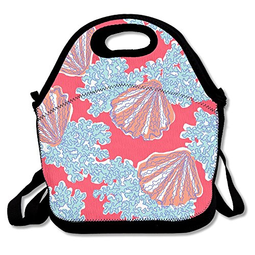 Jingclor Corals And Scallops Insulated Portable Reusable Picnic Lunch Tote Bags For Women, Teens, Girls, Kids, Adults, Office, School Or Gym