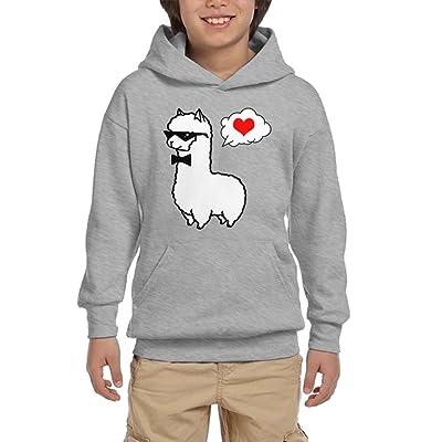 Alpaca Lover Cartoon Youth Pullover Hoodies Athletic Pockets Sweatsuit