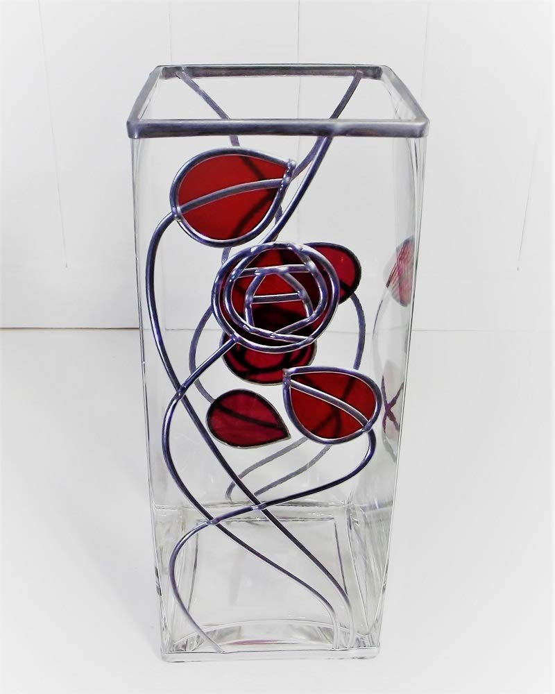 Handcrafted Rennie Mackintosh Large Square Top Glass Vase In Ruby Red Art Deco Inspired Style Wildflower Studio