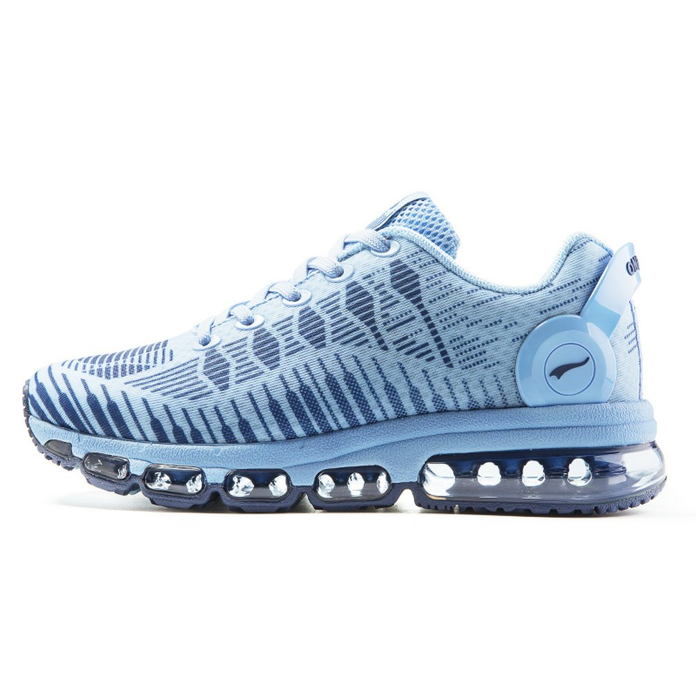 ONEMIX Women's Air Cushion Casual Walking Sneakers Breathable Athletic Gym Sport Running Shoes Light Blue US 7
