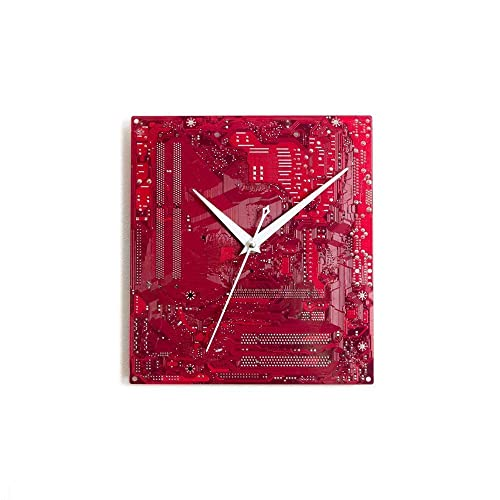 Large Red Wall Clock Circuit Board Original Unique Gift Boyfriend