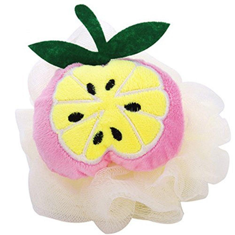 Dylandy - Esponja de baño con bola de malla para la ducha en forma de fruta, esponja de limpieza, puff exfoliante de lufa (fresa)