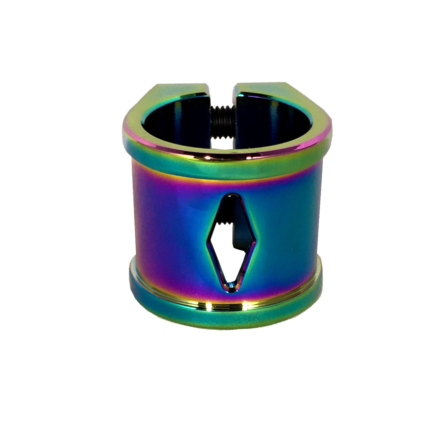 Liberty Diamond 2 Bolt Oversized Scooter Clamp (Neo Chrome - Oil Slick)