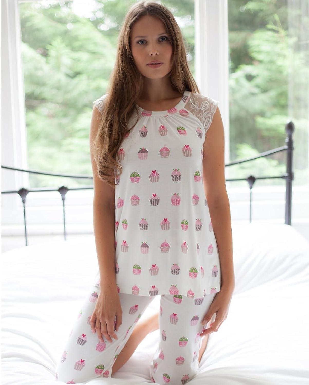 Ladies Cottonreal Deluxe Jersey Cupcake Lounge Capri PJ Set - Size S-XL (CRE 43-15) 100% Cotton