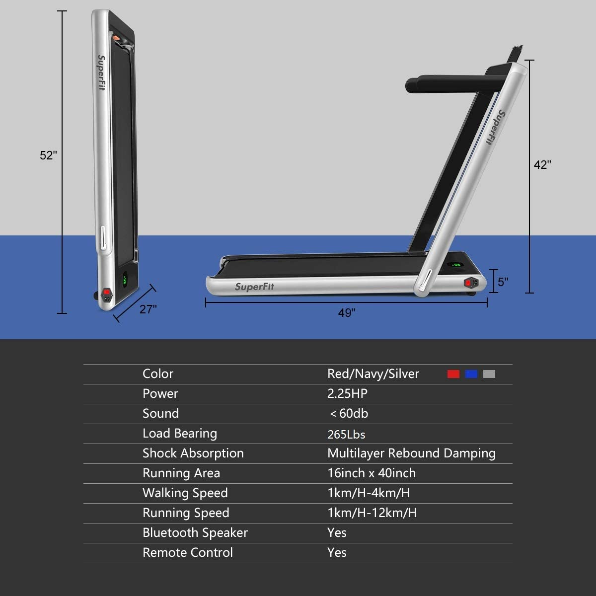 Goplus 2 in 1 Folding Treadmill, 2.25HP Under Desk Electric Treadmill