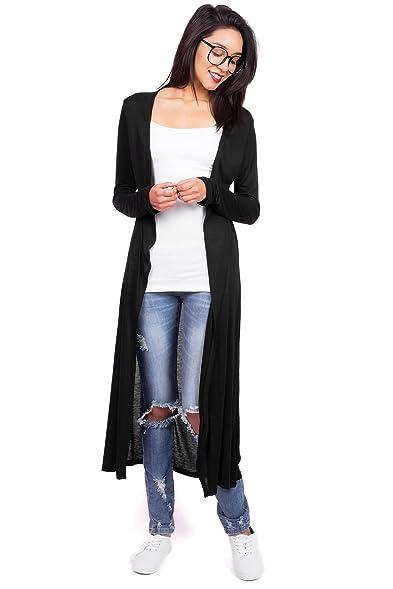 Zenana Women's Ultra Light Layering Maxi Cardigan (S, Black) at ...