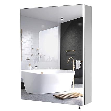 Homfa Armario de Pared Armario Baño con Espejo Armario Baño con 1 Puerta 3 Compartimentos de Acero Inoxidable 45x60x13cm