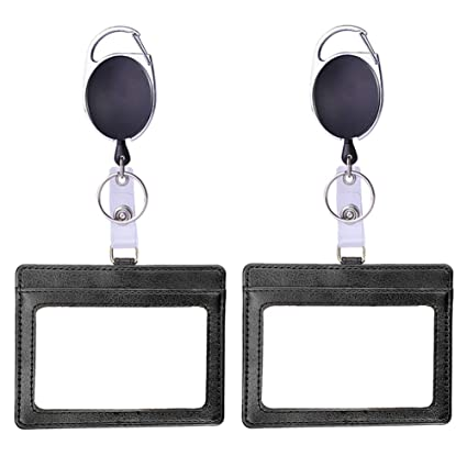 Double ID Badge Holder Retráctil Horizontal Id Card Holder con llavero extensible PU de cuero de doble cara Id Card 3 Ranuras para el personal ...
