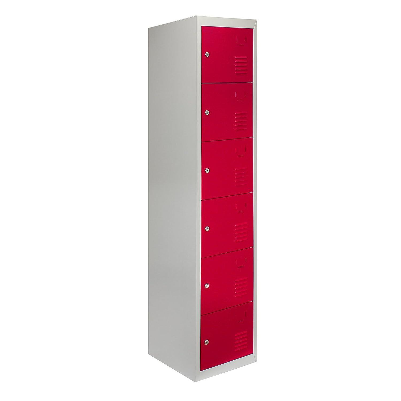MonsterShop Metal Lockers 6 Doors Storage, Flatpack Red & Grey Metal Lockable Unit Staff School Gym Changing