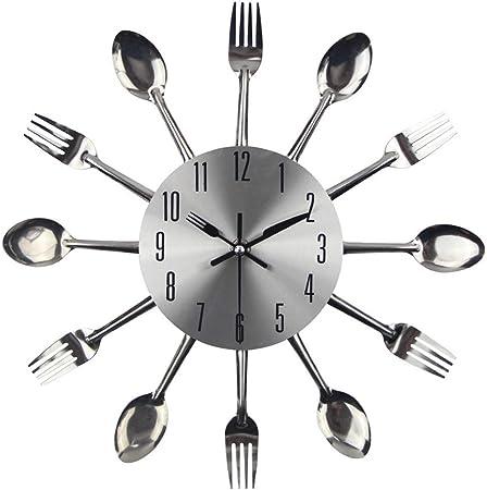 Cubiertos Creativos Reloj De Pared De Cocina con Cuchilla Minute Hand Y Fork Hour Hand para La Decoración del Restaurante De La Cocina Casera, Tamaño 33 * 33 Cm,Plata: Amazon.es: Hogar