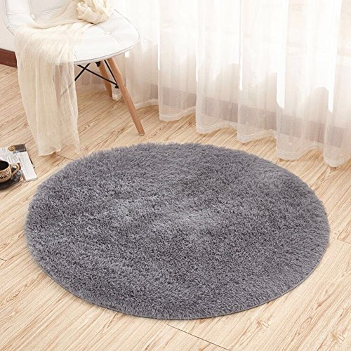 Luxury Carpet (Noahas 4-Feet Luxury Round Area Rugs Super Soft Living Room Bedroom Carpet Woman Yoga Mat, Gray)