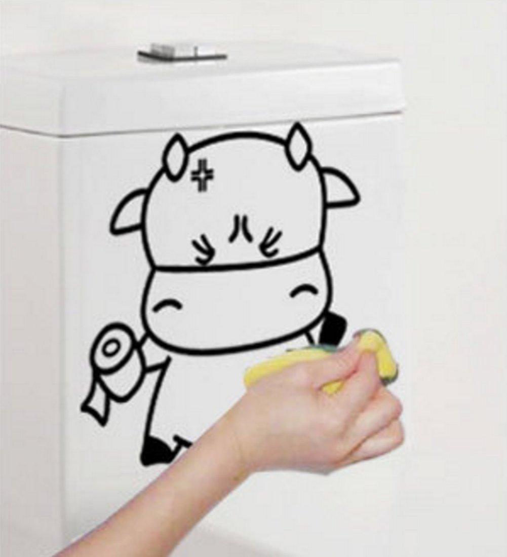 Pegatina de vaca de dibujos animados Negro