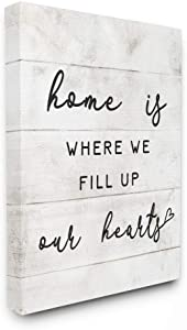 Stupell Industries Home is Where We Fill Up Our Hearts Family Quote, Designed by Daphne Polselli Wall Art, 16 x 20, Canvas