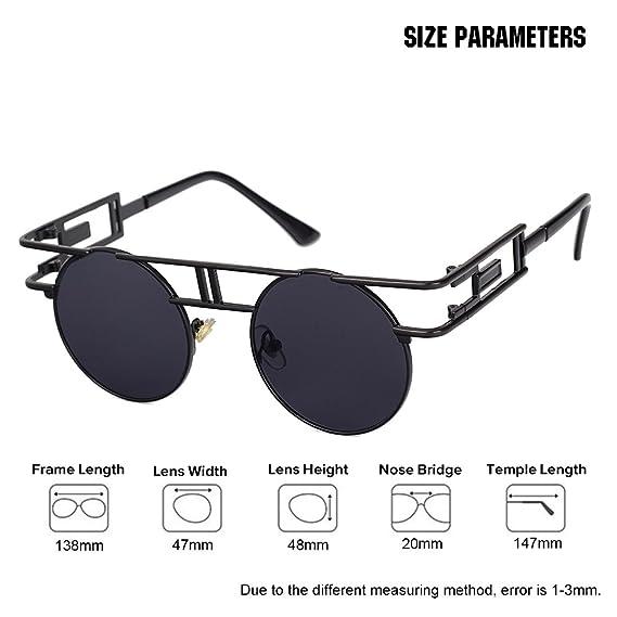 34f0ba49000 VeBrellen Men Gothic Sunglasses Reflective Flash Mirror Lens Vintage Women  Steampunk Round Sunglasses (Black Frame With Gray Lens