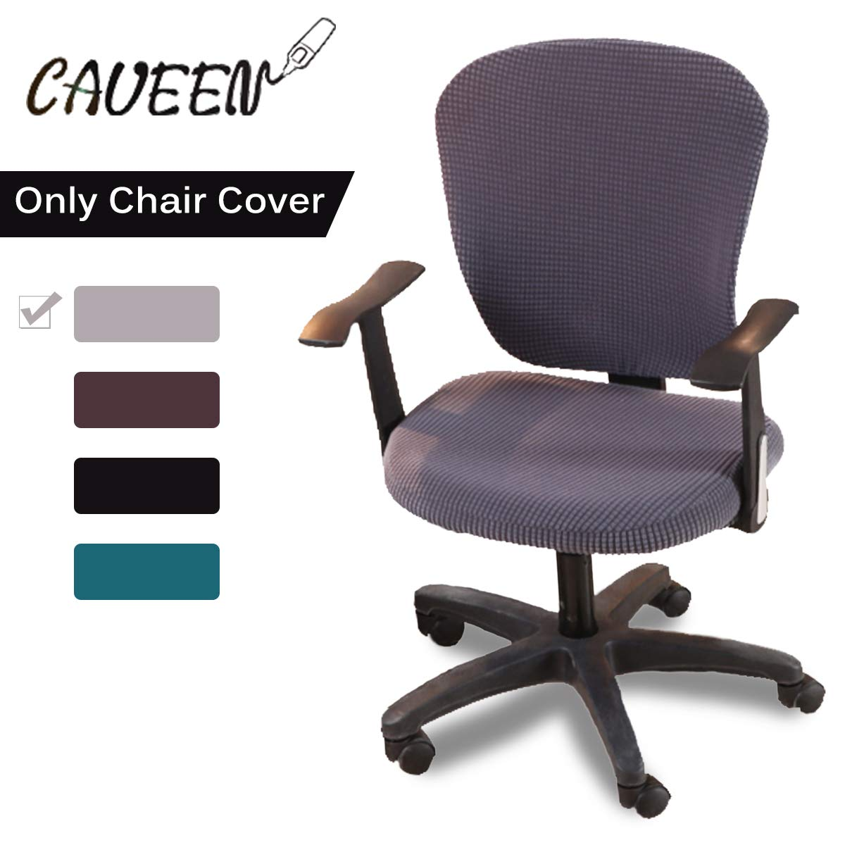 CAVEEN Stretch Office Computer Chair Covers Universal Protective Seat Cover Removable Washable Anti-dust Chair Slipcover 2-Pack Light Grey