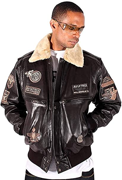 Aviatrix Men's US Air Force Brown Aviator Pilot Flying Bomber Jacket