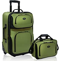2-Piece U.S. Traveler Rio Rugged Fabric Expandable Carry-On Luggage Set (Green)
