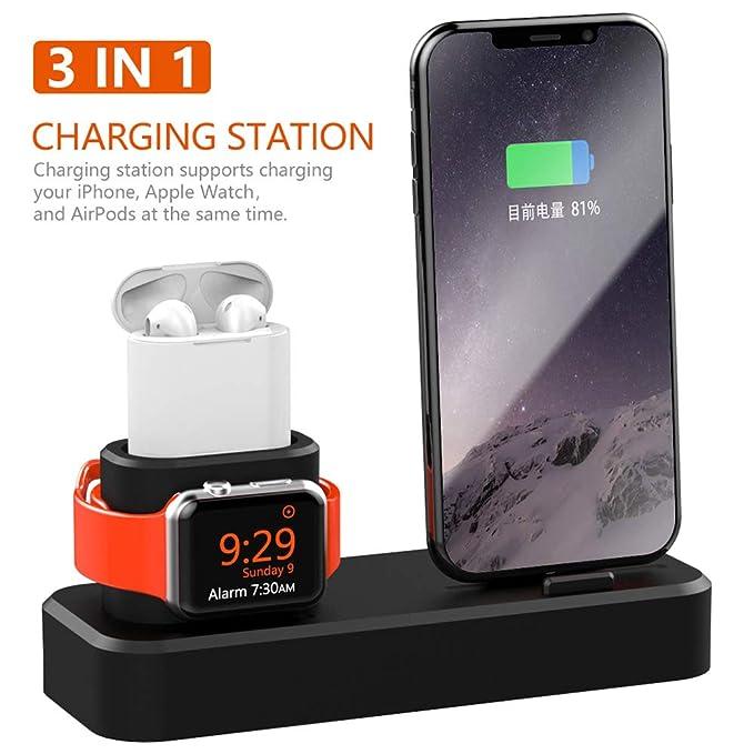 Soporte de Carga Compatible con iPhone AirPods Apple Watch, 3 en 1 Cargador de Silicona Premium para iWatch 4/3/2/1, AirPods, iPhone XS/XS MAX/XR/X/8 ...