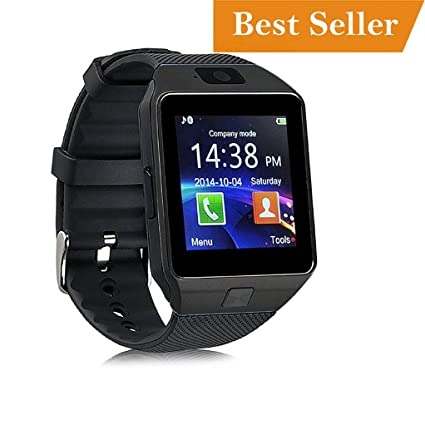 a24150cc5ac992 Image Unavailable. Image not available for. Colour: Meya Happy DZ 09 Unisex  Bluetooth 4G Smartwatch with Built-in Camera for Smartphones