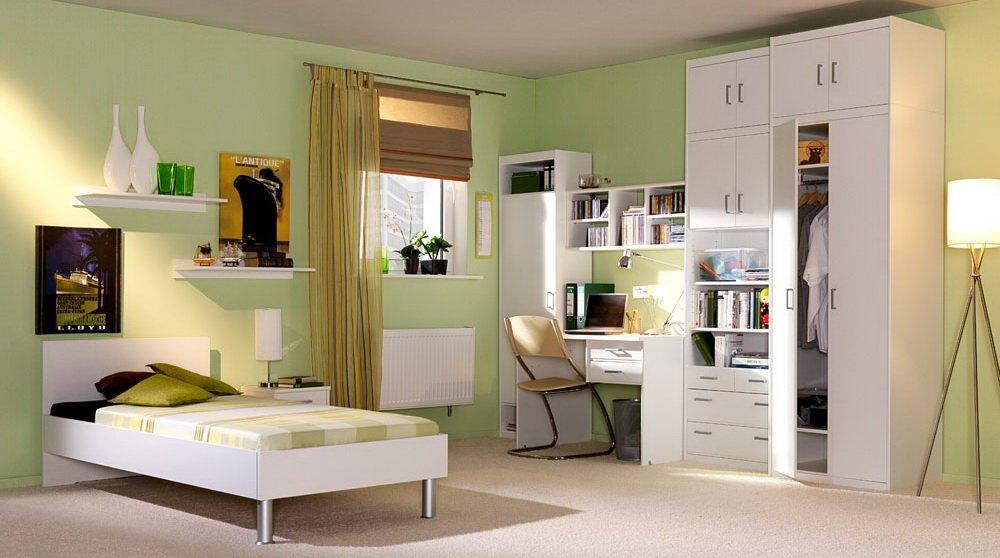 lifestyle4living 5-TLG. Jugendzimmer in weiß, Kleiderschrank mit Aufsatz B: 72 cm, Bett 90 x 200 cm Liegefläche, Schreibtisch B: ca. 106 cm, Nachtschrank B: ca. 38 cm