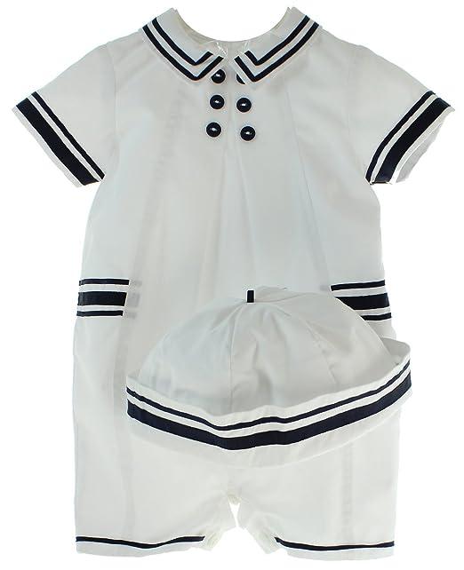 Amazon.com: Niños Sailor traje sombrero conjunto blanco azul ...