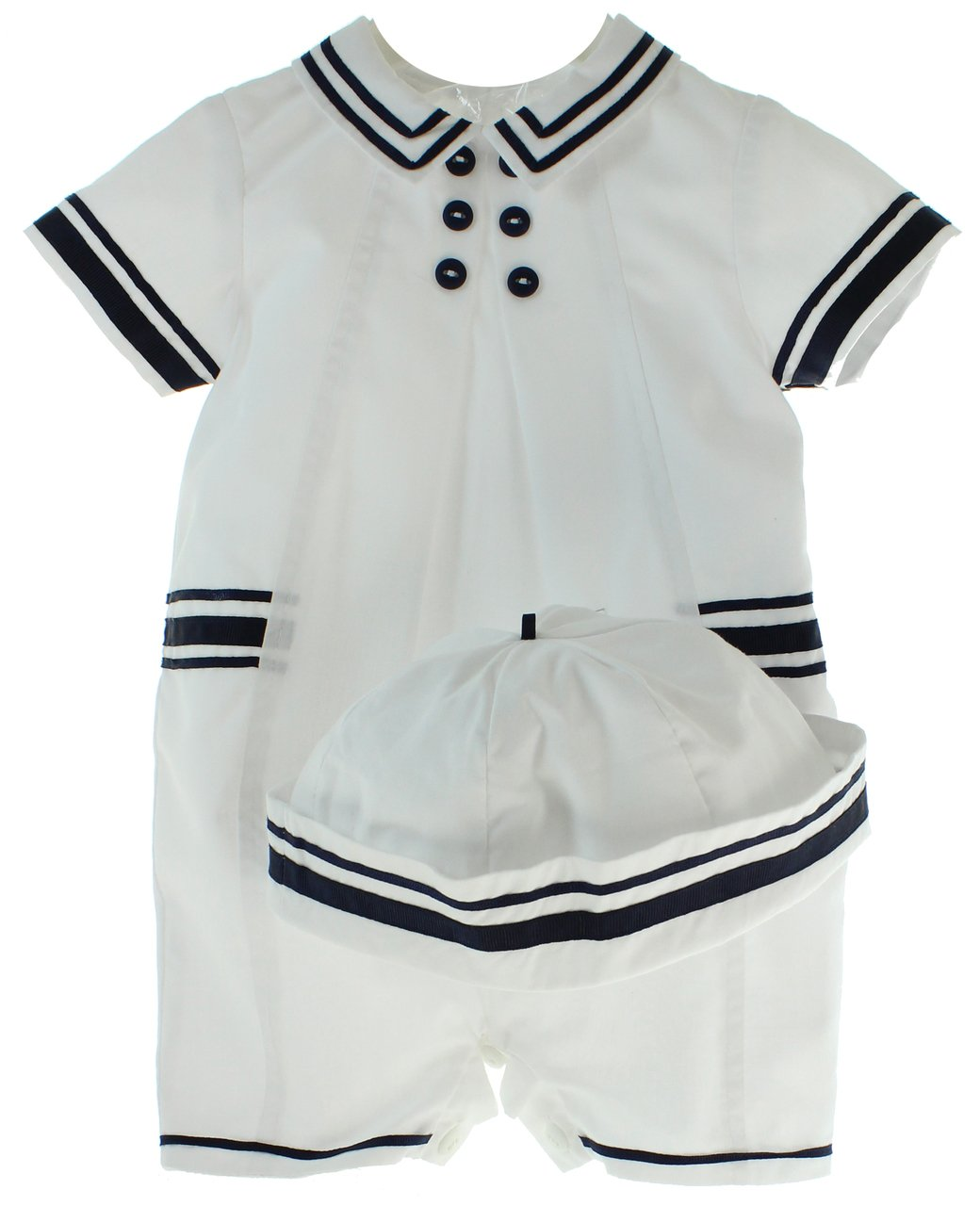 1388068b0235 Boys Sailor Romper Outfit Hat Navy White Nautical Baby Clothes 3M