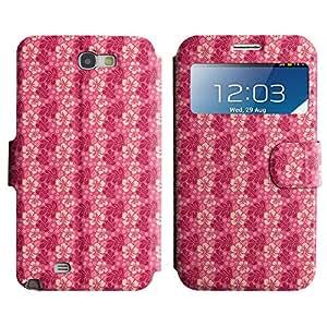 LEOCASE Flores De Color Rosa Funda Carcasa Cuero Tapa Case Para Samsung Galaxy Note 2 N7100 No.1001188