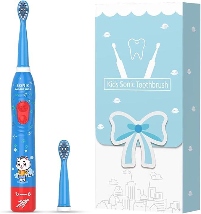 Cepillo de dientes eléctrico sónico para niños, cepillo de dientes recargable para niños de 3 a 12 años con recordatorio de 30 segundos, temporizador de 2 minutos, 6 modos, 2 cabezales de