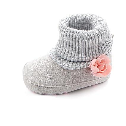 Zapatos De Bebé Botas de Cuna de Flores de bebé recién Nacido Patucos niñas Niños Primeros Pasos Zapatos Calientes Prewalker de Suela Blanda ...