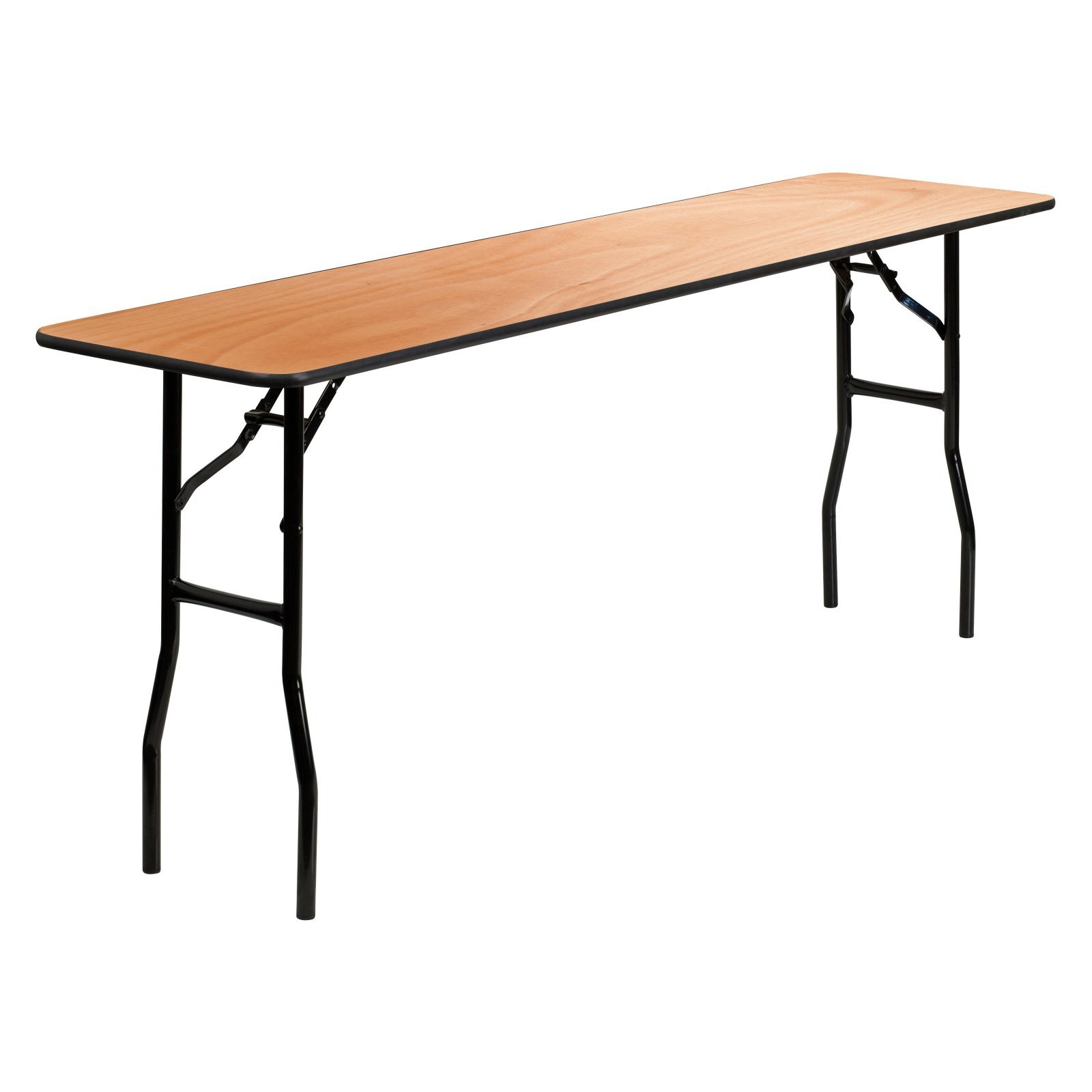18'' x 72'' Rectangular Wood Folding Training / Seminar Table with Smooth Clear Coated Finished Top Built for Constant Use
