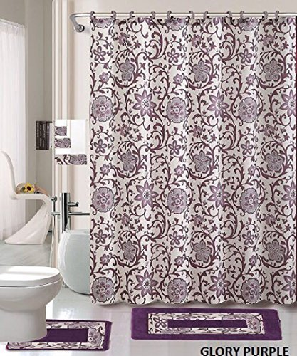 18 Piece Bath Rug Set Lavender Purple Silver Grey Print Bathroom Rugs  Shower Curtain/rings